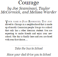 Snippet of the story Courage by Joe Scaminaci, Taylor McCormick, and Melissa Warder