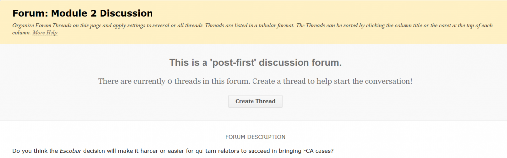 The post-first setting before creating a thread