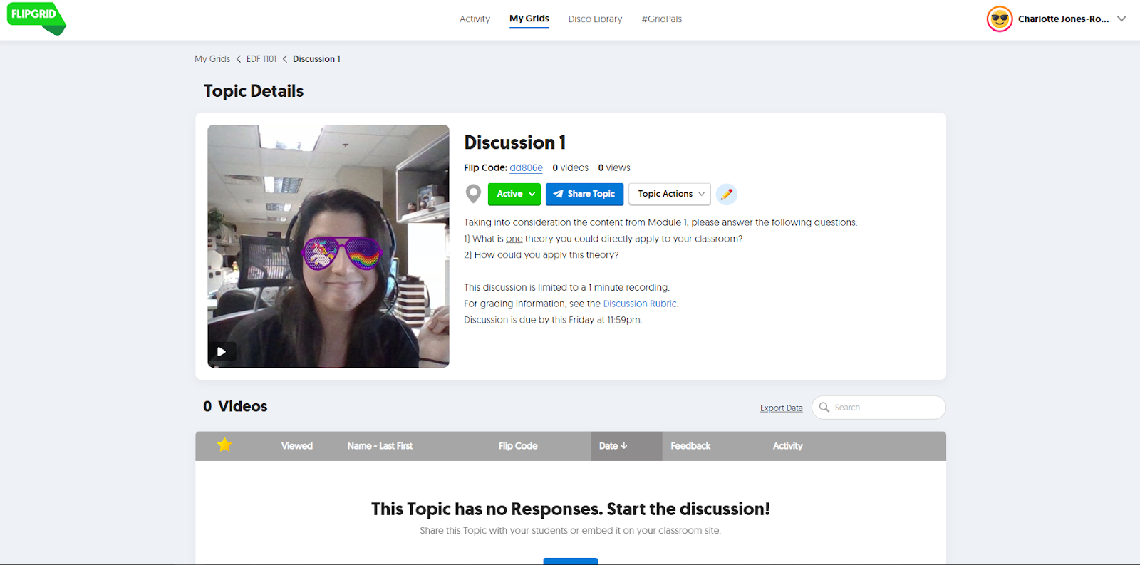 Screenshot: Professor poses an discussion topic using FlipGrid