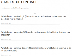 Example of Start Stop Continue questions in Google Drive