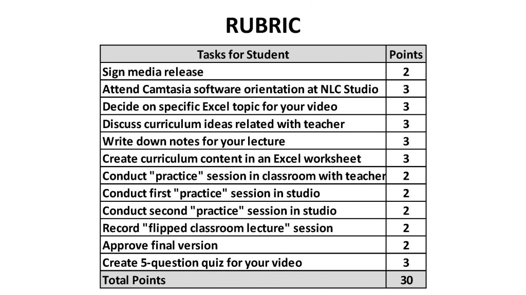 example of rubric with 12 criteria totaling 30 points