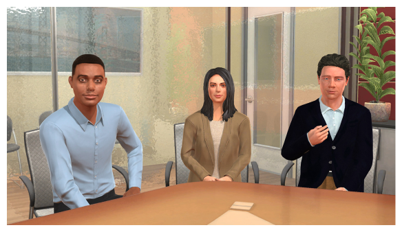 screenshot of the simulation, which shows three people sitting around a conference room