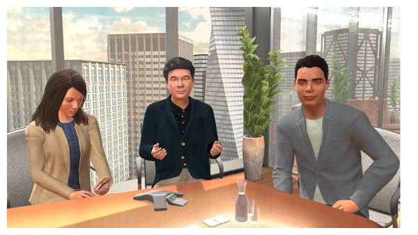 screenshot of three people sitting around a conference room