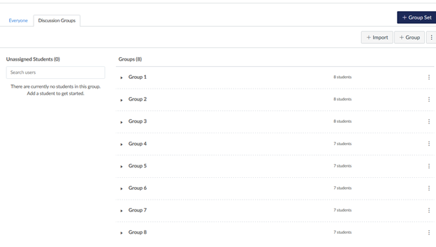 screenshot of discussion groups in canvas, groups 1-8, with 7-8 students in each